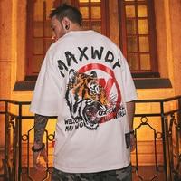 Japanese Harajuku Streetwear Cotton Embroidery Tiger T Shirt Men 2019 Summer Hip Hop Male Casual Short Sleeve