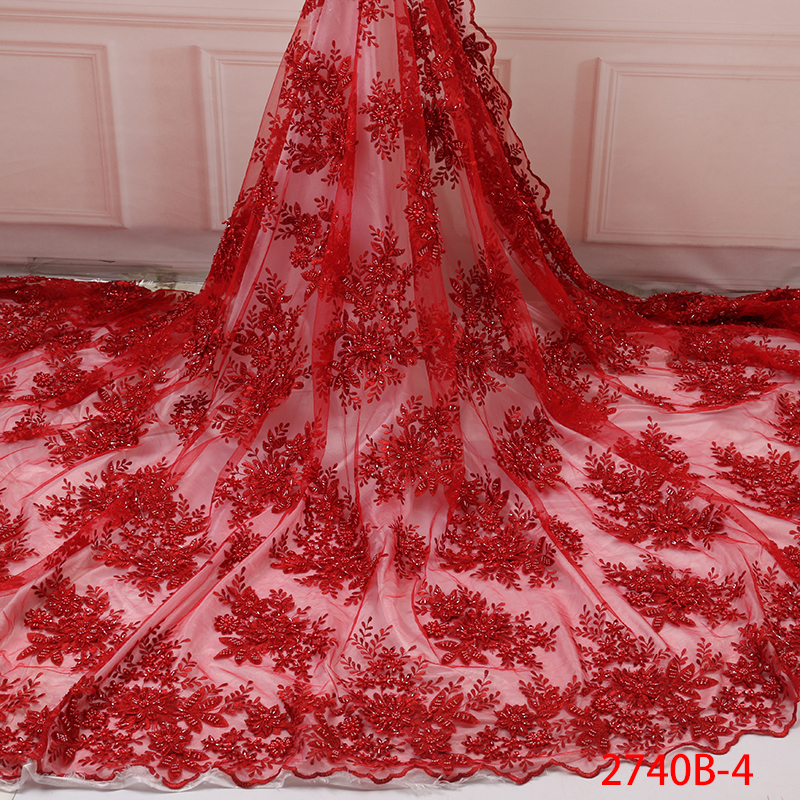 Fashion African Lace Fabric High Quality Handmade Lace Nigerian Lace Fabric 2019 French Tulle Net Laces With Beads KS2740B-4