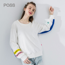 PASS 2017 Autumn Sweatershirts Women Fashion Cotton Loose Long Sleeve Hoodies Letter Print O Neck Streetwear Femme