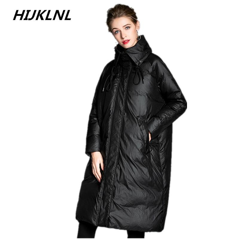 Hijklnl De Tq534 Lumineux D'hiver 2019 Longue Femmes Doudoune Lâche Chaud Black Type Mode Canard Blanc Manteau Nouvelles Épais 100Duvet Section rsdxCtQh