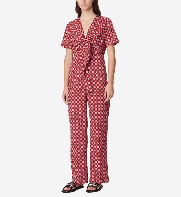V Neck Plaid Vintage Jumpsuit Women Short Sleeve Straight Leg Jumpsuit With Belt Fashion