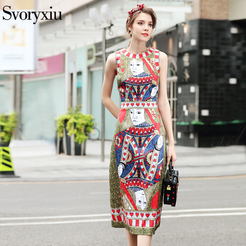 SVORYXIU Runway Designer 2018 Summer Dress Women sleeveless Poker Cards Printing Vintage Dress Vestido