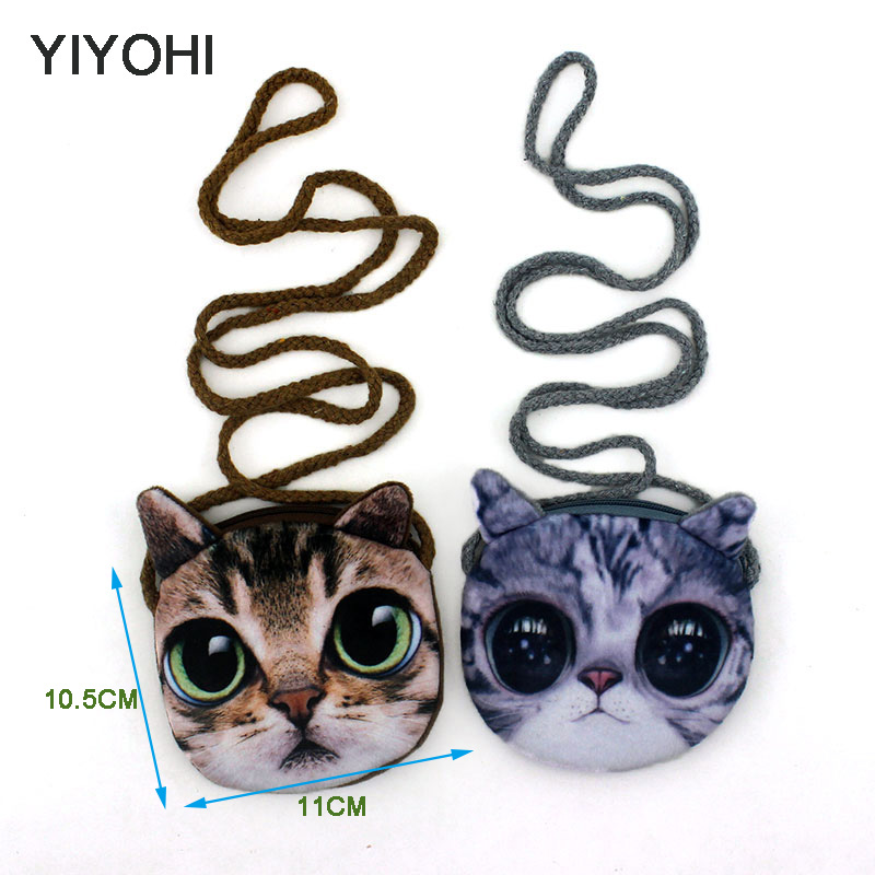 YIYOHI 3D Print Baby Girls Mini Messenger Bag Cute Plush Cartoon Boys Small Coin Purse Children Handbags Kids Shoulder Mini Bags