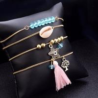 DIEZI Bohemian Shell Starfish Tree Charm   Bracelets     Bangles   For Women Fashion Beads Strand   Bracelets   Sets Jewelry Party Gifts