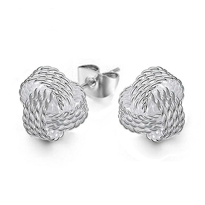 Cute New Fashion Jewelry Silver Plated Tennis Net Web Stud Earings for Women Girl Summer Style Silver Ball Earring Ear Studs