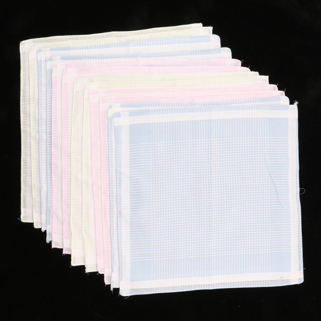 12pcs/set Multicolor Stripe Handkerchiefs Women Mens Classic Pattern Vintage Pocket Hanky 100% Cotton Plaid Handerchief