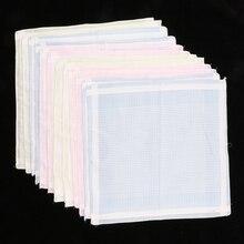 12pcs/set Multicolor Stripe Handkerchiefs Women Mens Classic Pattern Vintage Pocket Hanky 100% Cotton Plaid Handerchief 12pcs hgh20ha 100