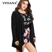 VITIANA Women Plus Size 7XL Layered Casual Dress Shirt Female Long Sleeve Black Flower Print Sexy