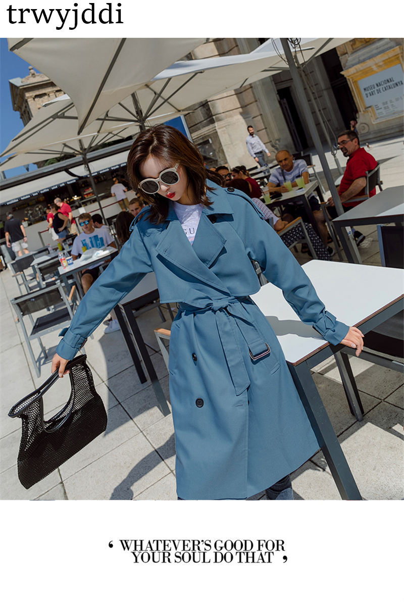 Fashion Windbreaker Coats Long section 19 New Spring Autumn Coat Women Trench Coats Korean Loose Casual Ladies Outerwear N402 5