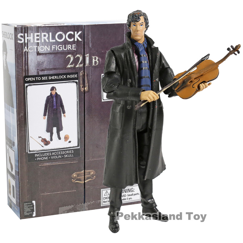 New Poseable Arms 221B Detective Sherlock Holmes Benedict Cumberbatch With Phone Violin Skull 14cm Action Figure Figurine Toys
