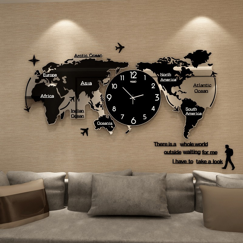 World Map Wall Clock Large Modern Design 3d Stickers Hanging Clock Glowing In Dark Decorative Watch