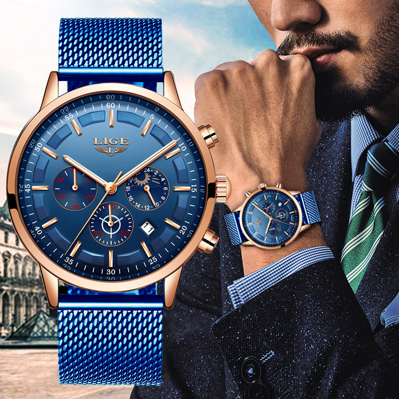 LIGE New Mens Watches Male Fashion Top Brand Luxury Stainless Steel Blue Quartz Watch Men Casual