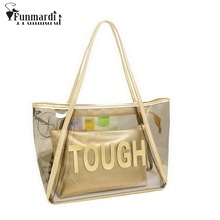 Summer hot sale candy colors PVC bags fashion composite transparent bag good beach Bag brand design women handbag WLHB1106
