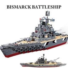 Crucero de la Marina Alemana Bismarck Acorazado del Buque de Guerra Bloques de Construcción Militar Ensamblar Modelos de Juguetes 1297 unids