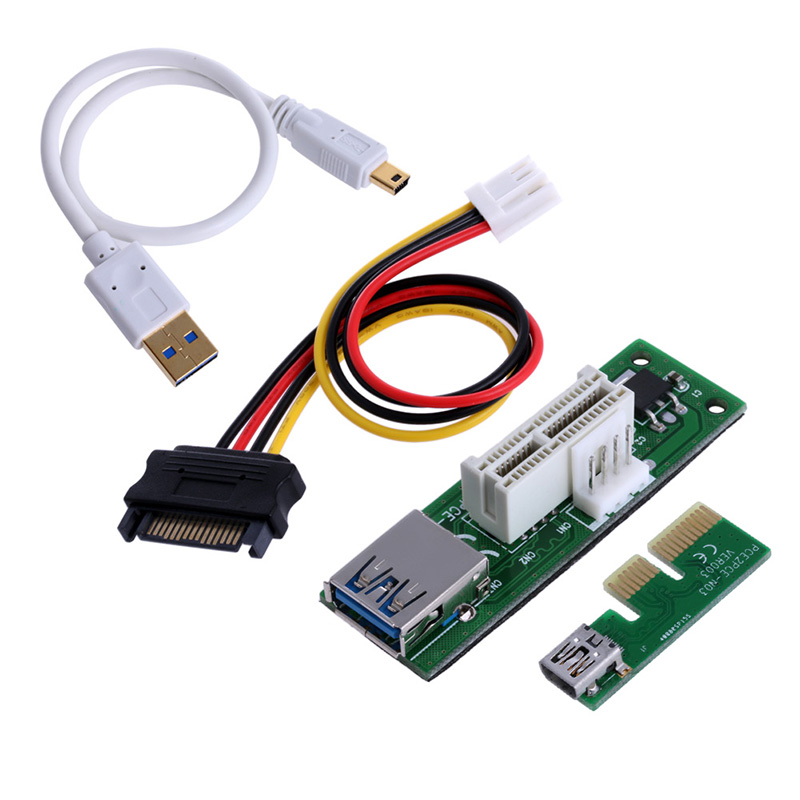 все цены на  Mini PCI-E PCI Express Extension1X Riser Card USB 30cm Extender Cable 4pin Power #K400Y#  онлайн