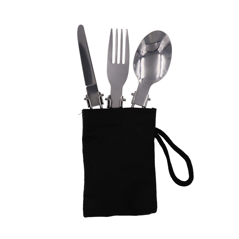 Liberal Outdoor Portable Tableware Set Folding Camping 3 In 1knife Fork Spoon Foldable Mini Ultralight Dinnerware For Family Picnic Camping & Hiking