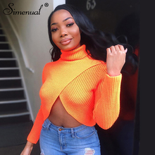 Simenual Neon Fashion Cropped Sweater Women Knitwear Long Sleeve Jumpers Turtleneck Criss Cross Autumn Pink Pullover 2019 Winter