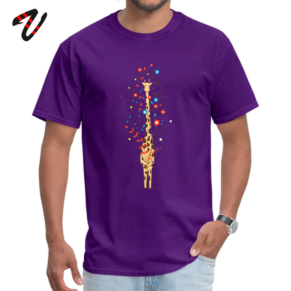 Customized Retro Men Tshirts O-Neck Short Sleeve 100% Cotton Tops Shirts Custom Tops & Tees Drop Shipping I Brought You These Flowers -11678 purple