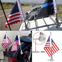 Motorcycle Chrome Flag Pole Mount And 6 X 9 Flag American USA For Harley Honda Goldwing