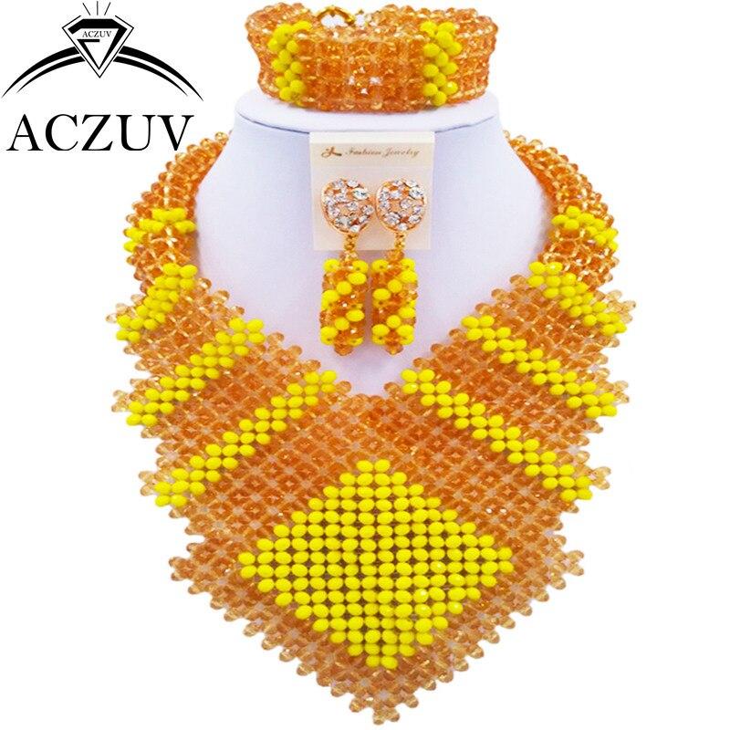 ACZUV dernières perles de mode africaine nigérian collier de mariage ensemble de bijoux en or jaune pour les femmes CFKK002