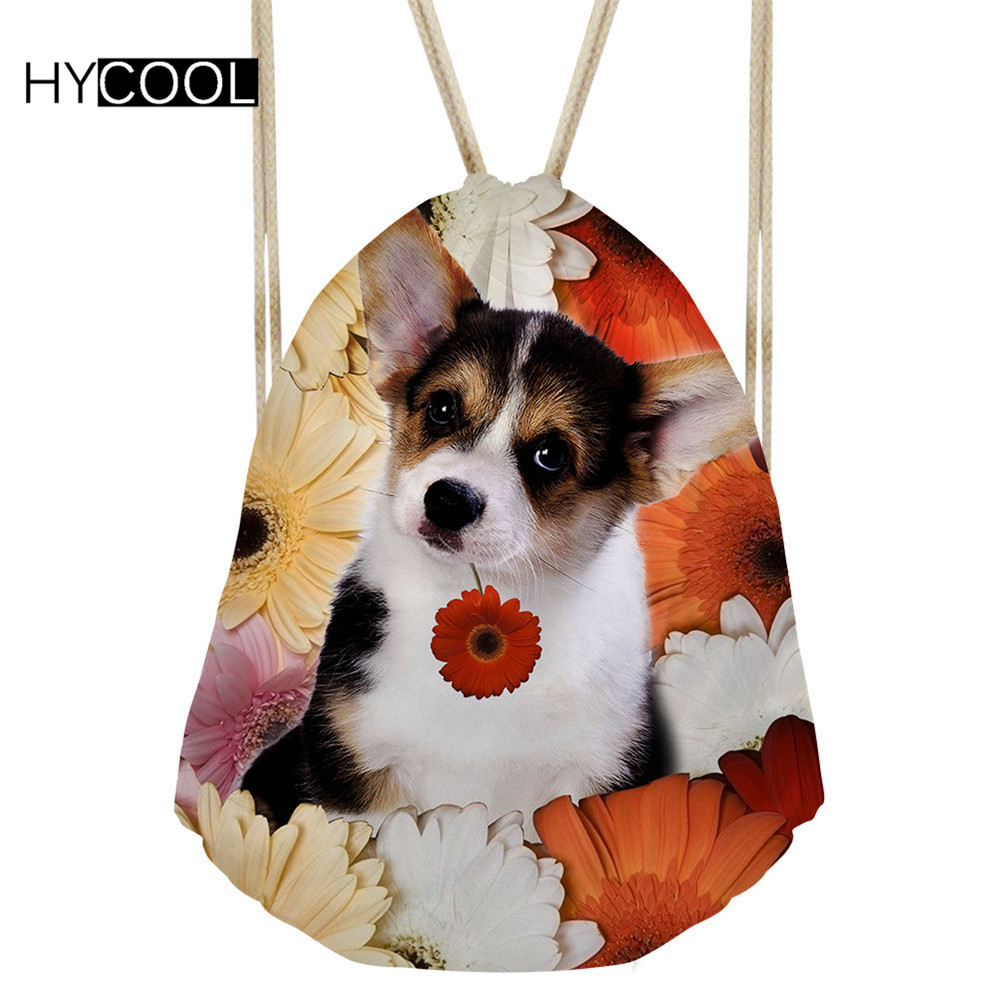 Hycool Lady Sports Sack For Fitness Gym Bags Small Backpack Dogs Printed Women Outdoor Training Bags Girl/boy Reusable Yoga Pack