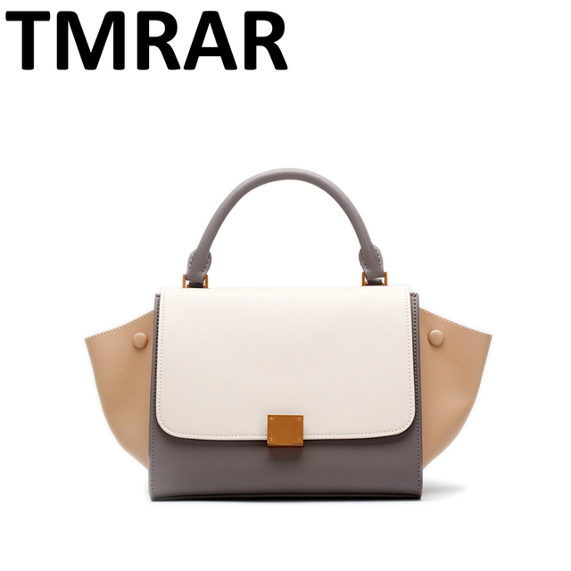083bd16683d3 US $65.16 49% OFF|2019 New flap split leather handbags panelled tote with  wings women chic lady new modern design messenger bags for female qn281-in  ...