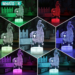Image 4 - חדש 3D מנורת אלפקה הלמה מנורת לילה מצב רוח מנורת 7/16 צבע שינוי אור סדק בסיס עבור יום הולדת מתנות צעצועי ילדים לילה אורות