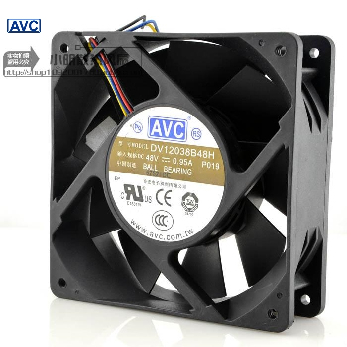 AVC New 48V 0.95A DV12038B48H 12CM 12038 industrial inverter cooling fan  120*120*38mm delta afb1212hhe 12038 12cm 120 120 38mm 4 line pwm intelligent temperature control 12v 0 7a