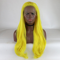 Fantasy Beauty Bright Yellow Natural And Soft Heat Resistant Synthetic Fiber Long Wavy Synthetic Wigs Lace Front Wig