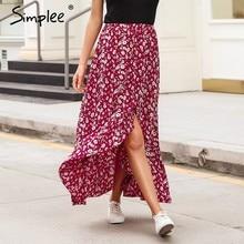 61e329d575 Simplee vermelho estampado Floral saia longa boho Mulheres amarrar botão da  sereia saia de cintura alta