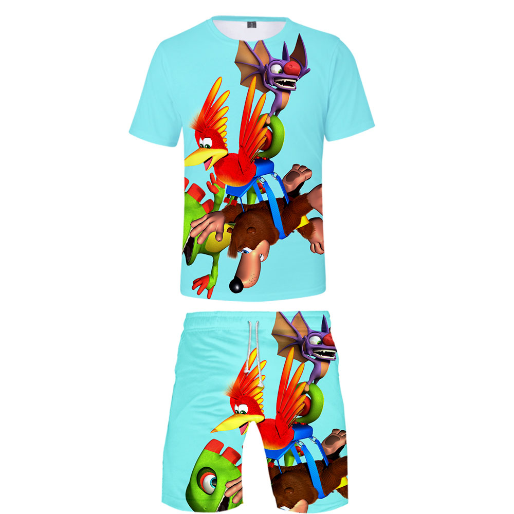2019 Banjo Kazooie Two Piece Set Tshirt And Shorts Harajuku Men Banjo Kazooie T Shirt Streetwear Harajuku Short Sleeve Plus Size