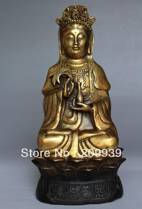 00894 Rare Tibetan Buddhism Bodhisattva Bronze Hand-Carved KWAN YIN Buddha Statue