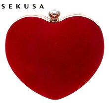 SEKUSA aksamitne akrylowe diamenty w kształcie serca czerwona/czarna torba wieczorowa s mini torebka sprzęgła z łańcuchem na ramię torba wieczorowa na ślub