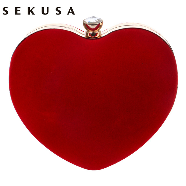 Sekusa veludo acrílico diamantes em forma de coração vermelho/preto sacos de noite mini bolsa embreagem com corrente ombro saco de noite para o casamento