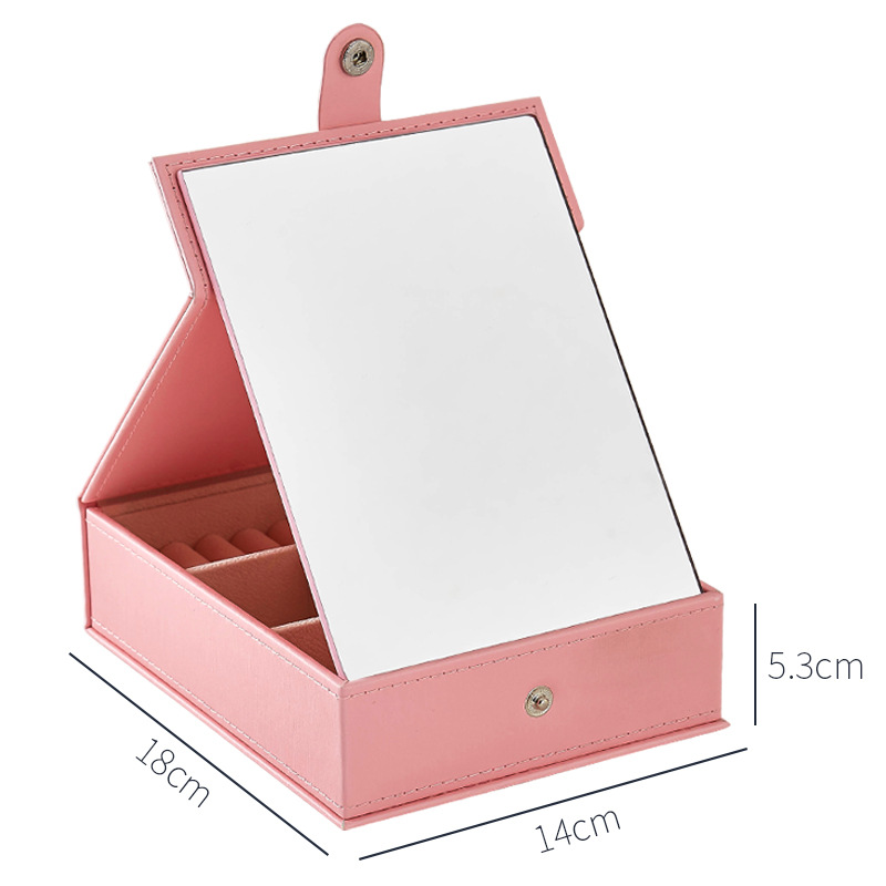 GLHGJP Fashion Leather Jewelry Carrying Case Multifunctional HD Makeup Mirror Jewelry Box Joyeros Organizador De Joyas in Jewelry Packaging Display from Jewelry Accessories