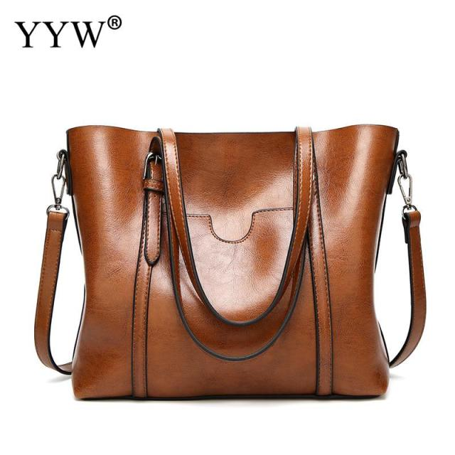 Women bag Oil wax Women Leather Handbags Luxury Lady Hand Bags With Purse Pocket Women messenger bag Big Tote Sac Bolsos Mujer