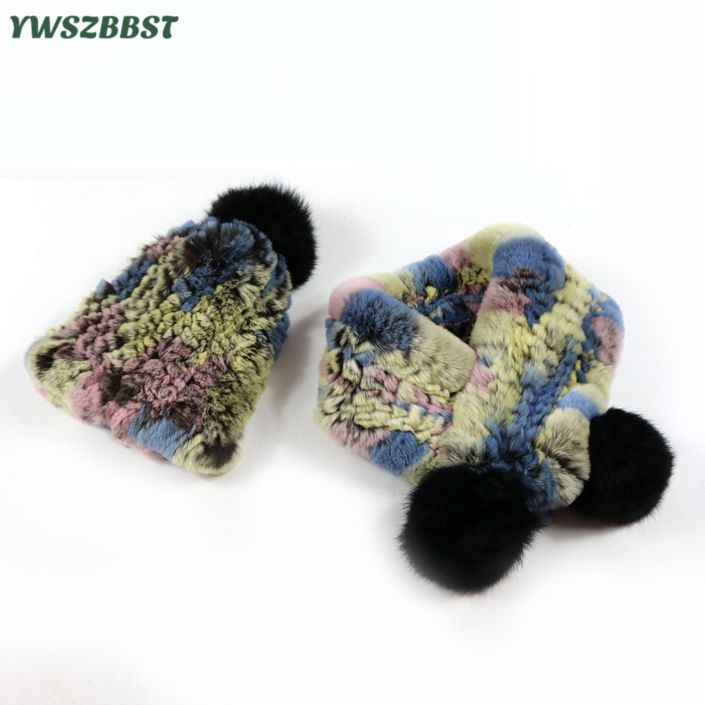 Fashion Baby Hat with Pompom Ball Winter Warm Rabbit Fur Kids Hats Baby Caps for Girls Boys Children Cap Scarf Collar new children rabbit fur knitted hat winter warm fur hats scarf boys grils real fur beanies cap natural fur hat for kids h 26