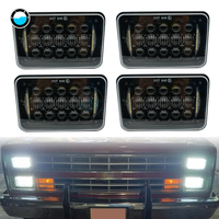 4pcs 4x6 LED Headlights Rectangular H4 Plug for GMC Safari Ford Chevrolet Toyota Nissan Trucks 5'' LED for 4x4 off road lighting