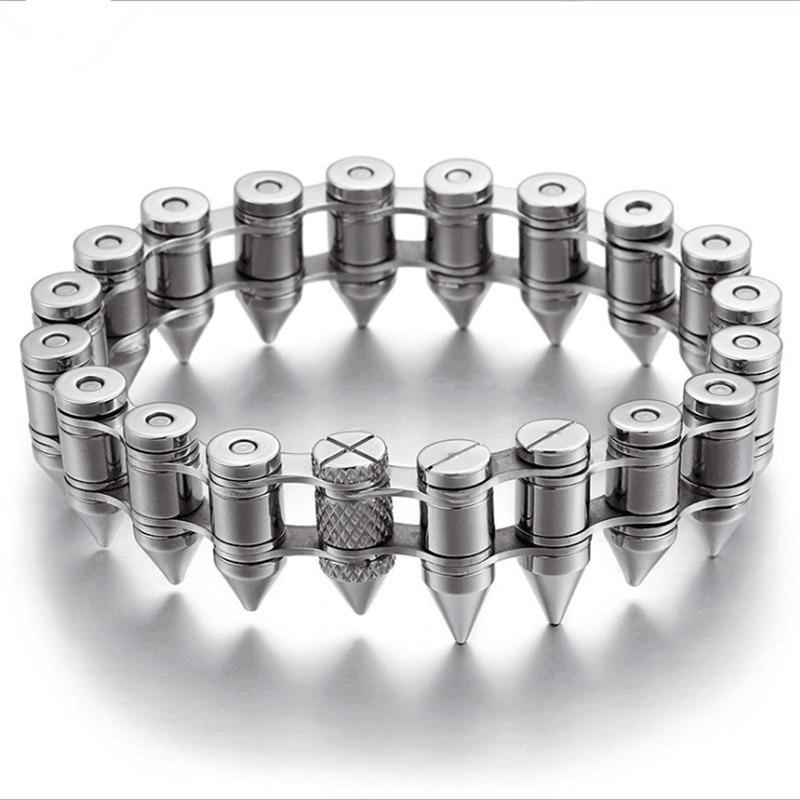 Mens Bracelet Titanium Steel Bullet Bracelet Men Retro Jewellery Stainless Steel Bracelet 22Cm Bracelet Punk Jewelry Wholesale