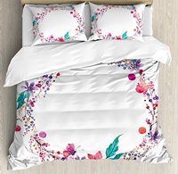 Watercolor Flower Duvet Cover Set Flower Wreath Illustration with Wildflowers Leaves Butterfly 4 Piece Bedding Set Turquoise
