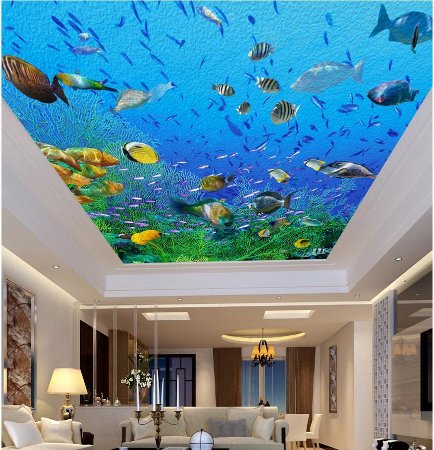 US $14 49 OFF 3d Langit Langit Mural Dinding Kertas Gambar Laut Dunia Minyak Lukisan A Dekorasi Foto 3d Dinding Mural Wallpaper Untuk Dinding