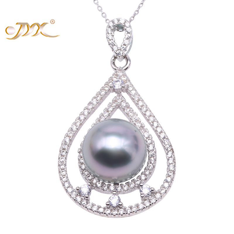 JYX Exquisite 11mm Gray Tahitian Pearl South Sea Cultured Pendant in 925 Sterling Silver 18 inches jyx pearl silver 925 jewelry genuine 12 5mm oval golden south sea cultured pearl 925 pendant necklace in sterling silver 18