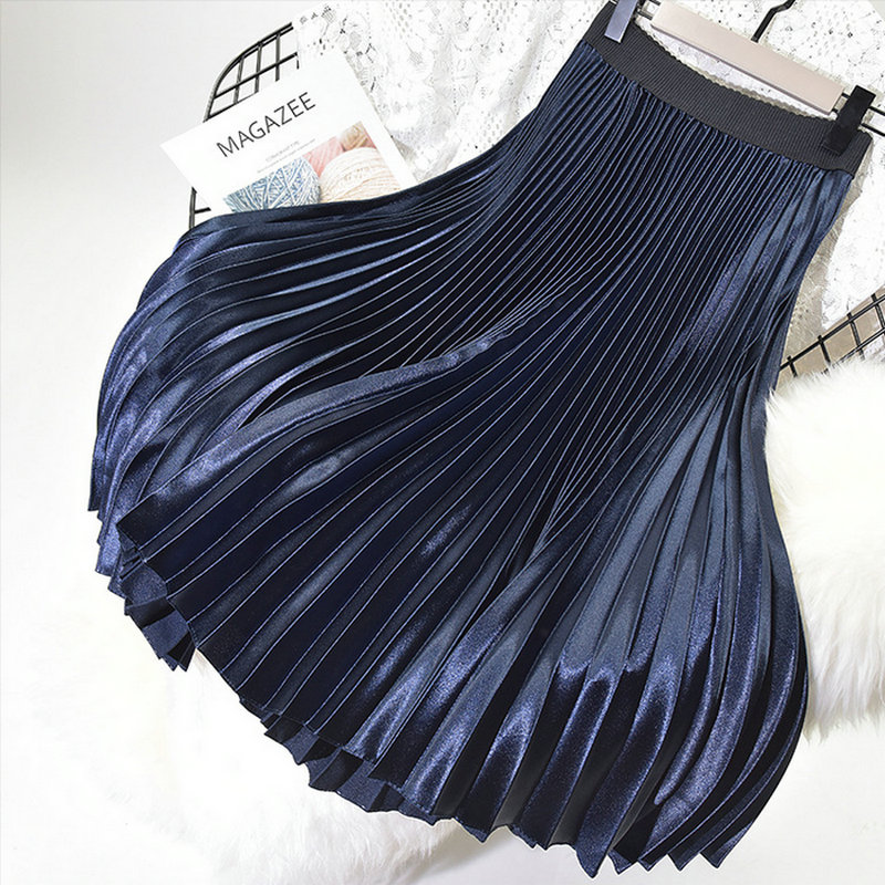 2018 spring summer new female solid color satin metallic color organ pleated skirt women's high wait bust skirts