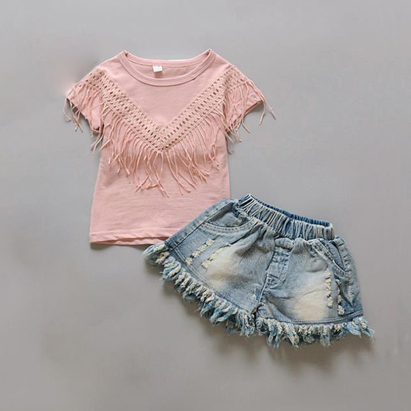 kids girls summer clothing set short sleeve t-shirt + Jeans Denim pants 2 pcs baby suit casual cotton outfits infant sportwear toddler baby kids girls clothes sets summer lace tops t shirt short sleeve denim jeans pants cute outfits clothing set