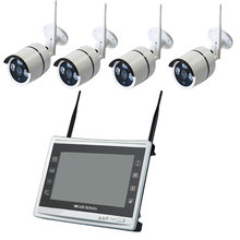 Aokwe New arrival 4ch Outdoor Day night security camera system 720P Real wireless wifi NVR kit with ii inch LCD Screen