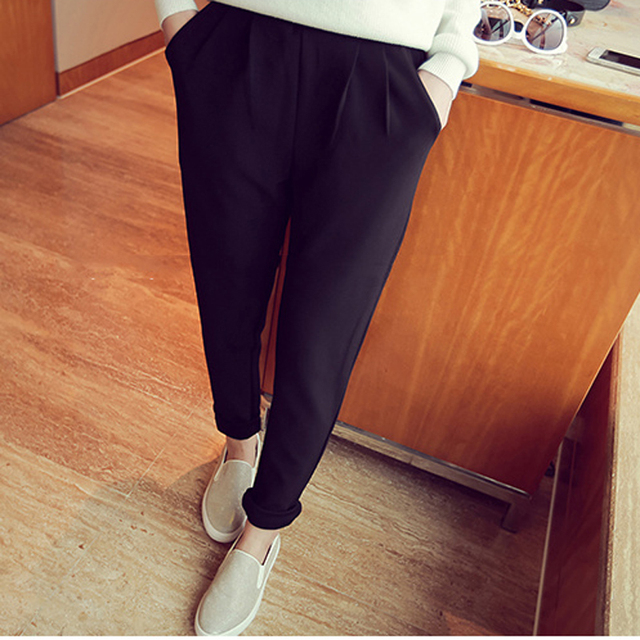 92f971d18891 PAROLLADA Women Summer Casual Pants Elastic Band Roll Up Ankle Length Pants  Trousers S-3XL