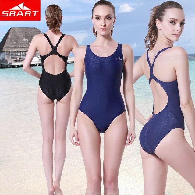 45504e1d59 SBART Black One Piece Swimsuit Plus Size Swimwear Sharkskin High Cut Out  Monokini Bathing Suits Competition Women Swimming Hot J