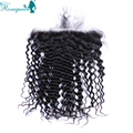 13x6 Lace Frontal Closure Brazilian Deep Wave Ear To Ear Lace Frontal With Baby Hair Natural Black Color Bleached Knots Grade 7A