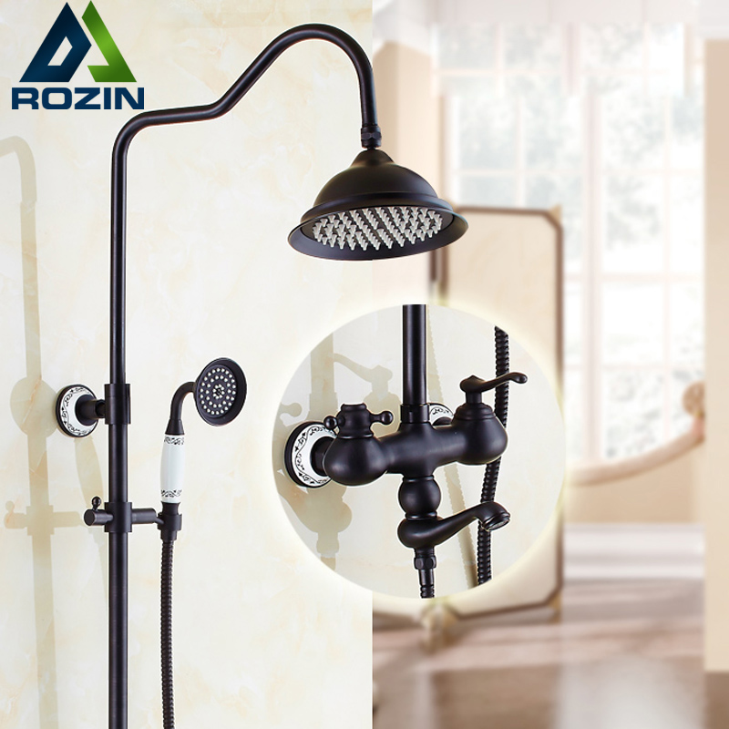 Luxury Oil Rubbed Black Rain Bath Tub Shower mixer Faucet Bathroom in wall Adjust Height Shower Faucet Kit with Hand Shower