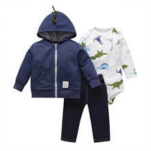 Autumn Winter Newborn Baby Boys and Girls Outwear Coats 3Pcs Sets Hooded Cardigan + Long Sleeve Baby Bodysuit + Pants  6-24M стоимость
